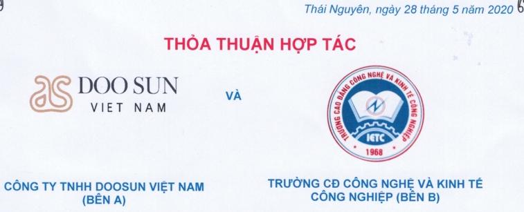 Thoả thuận hợp tác giữa IETC và Công ty TNHH DOOSUN Việt Nam về việc làm.